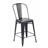 Set of 4 Metal Stacking Chairs, Antique Black + Sliver