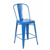 Set of 4 Metal Stacking Chairs, Bright Deep Blue
