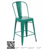 Set of 4 Metal Stacking Chairs, Matte Green
