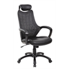 High Back Mesh&PU Executive & Managerial Computer Desk Swivel Office Chair with Headrest, Jet Black