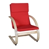 Mia Bentwood Reclining Chair- Natural/ Red