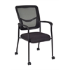 Kiera Side Chair with Casters- Black