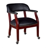 Ivy League Captain Chair with Casters- Black