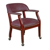 Ivy League Captain Chair with Casters- Burgundy