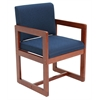 Belcino Sled Base Side Chair with Arms- Cherry/ Blue