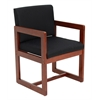 Belcino Sled Base Side Chair with Arms- Cherry/ Black