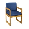 Belcino Sled Base Side Chair with Arms- Medium Oak/ Blue