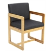 Belcino Sled Base Side Chair with Arms- Medium Oak/ Black