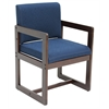 Belcino Sled Base Side Chair with Arms- Mocha Walnut/ Blue