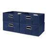 Cubo Set of 4 Half-Size Foldable Fabric Storage Bins- Blue