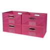 Cubo Set of 4 Half-Size Foldable Fabric Storage Bins- Pink