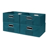 Cubo Set of 4 Half-Size Foldable Fabric Storage Bins- Teal