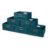 Cubo Set of 6 Half-Size Foldable Fabric Storage Bins- Teal