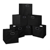 Cubo Set of 12 Foldable Fabric Storage Bins- Black