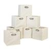 Cubo Set of 12 Foldable Fabric Storage Bins- Beige