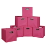 Cubo Set of 12 Foldable Fabric Storage Bins- Pink
