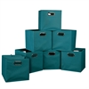 Cubo Set of 12 Foldable Fabric Storage Bins- Teal