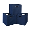Cubo Set of 3 Foldable Fabric Storage Bins- Blue