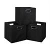 Cubo Set of 3 Foldable Fabric Storage Bins- Black