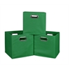 Cubo Set of 3 Foldable Fabric Storage Bins- Green