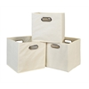 Cubo Set of 3 Foldable Fabric Storage Bins- Beige