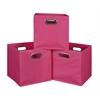 Cubo Set of 3 Foldable Fabric Storage Bins- Pink