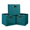 Cubo Set of 3 Foldable Fabric Storage Bins- Teal
