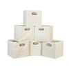 Cubo Set of 6 Foldable Fabric Storage Bins- Beige