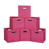 Cubo Set of 6 Foldable Fabric Storage Bins- Pink