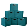 Cubo Set of 6 Foldable Fabric Storage Bins- Teal