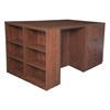 Legacy Stand Up Lateral File/ 3 Desk Quad with Bookcase End- Cherry