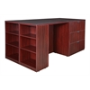 Legacy Stand Up Lateral File/ 3 Desk Quad with Bookcase End- Mahogany