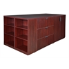 Legacy Stand Up Storage Cabinet/ 3 Lateral File Quad with Bookcase End- Mahogany