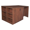 Legacy Stand Up Storage Cabinet/ 3 Desk Quad with Bookcase End- Cherry