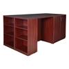 Legacy Stand Up 2 Desk/ Storage Cabinet/ Lateral File Quad with Bookcase End- Mahogany