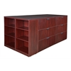Legacy Stand Up Lateral File Quad with Bookcase End- Mahogany