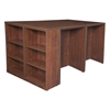 Legacy Stand Up Desk Quad with Bookcase End- Cherry
