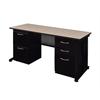 """Fusion 66"""" x 24"""" Double Pedestal Desk- Beige"""