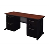 "Fusion 66"" x 24"" Double Pedestal Desk- Cherry"