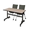 "Kobe 48"" Flip Top Mobile Training Table- Beige & 2 Apprentice Chairs- Black"