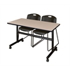 "Kobe 48"" Flip Top Mobile Training Table- Beige & 2 Zeng Stack Chairs- Black"