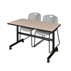 "Kobe 48"" Flip Top Mobile Training Table- Beige & 2 Zeng Stack Chairs- Grey"