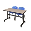 "Kobe 48"" Flip Top Mobile Training Table- Beige & 2 'M' Stack Chairs- Blue"