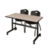 "Kobe 48"" Flip Top Mobile Training Table- Beige & 2 'M' Stack Chairs- Black"