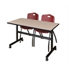 "Kobe 48"" Flip Top Mobile Training Table- Beige & 2 'M' Stack Chairs- Burgundy"
