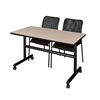 "Kobe 48"" Flip Top Mobile Training Table- Beige & 2 Mario Stack Chairs- Black"