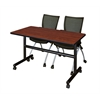 "Kobe 48"" Flip Top Mobile Training Table- Cherry & 2 Apprentice Chairs- Black"
