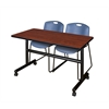 "Kobe 48"" Flip Top Mobile Training Table- Cherry & 2 Zeng Stack Chairs- Blue"