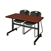 "Kobe 48"" Flip Top Mobile Training Table- Cherry & 2 Zeng Stack Chairs- Black"