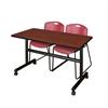 "Kobe 48"" Flip Top Mobile Training Table- Cherry & 2 Zeng Stack Chairs- Burgundy"